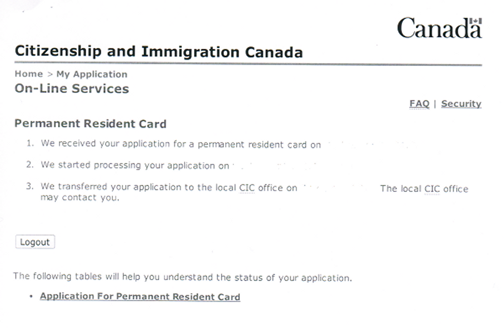 CIC Status Check for Permanent Resident Card