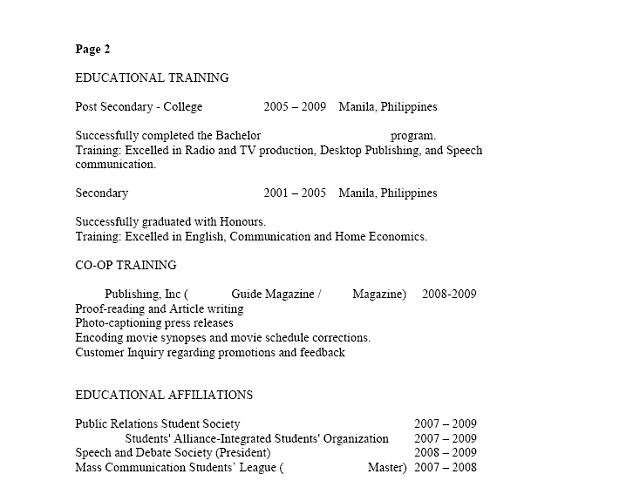 Sample Filipino Resume Page 2