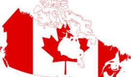 Map of Canada with Flag imposed over top By User:Pmx [Public domain], via Wikimedia Commons