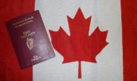 Irish Passport with Canadian flag