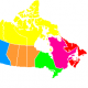 Provinces By Original: QuartierLatin1968This version: Steffen Mokosch, Wikivoyage (Based on Image:Canada_provinces_blank_vide.png) [Public domain], via Wikimedia Commons
