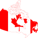 Flag of Canada on the map of Canada via https://pixabay.com/en/flag-canada-geographical-map-1179160/